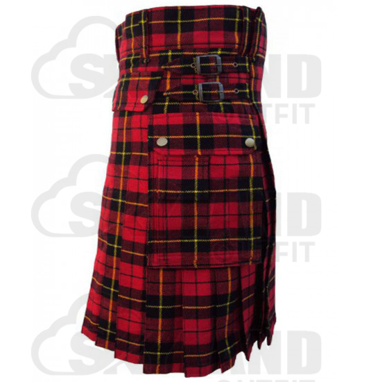 Scottish Wallace Tartan Kilt Modern Utility Kilt with Side Pockets